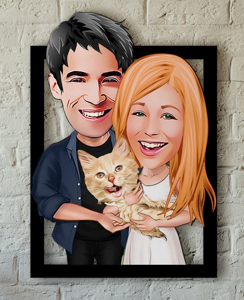 Caricature personnalisée sur bois - Couple & Chat