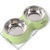 Double-distributeur-d-eau-bols-d-animaux-Bol-d-animaux-pour-chiens-chats-Gamelle-double-Gamelle-acier-vert