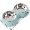 Double-distributeur-d-eau-bols-d-animaux-Bol-d-animaux-pour-chiens-chats-Gamelle-double-Gamelle-acier-bleu
