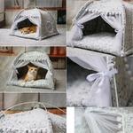 Tente-4-saisons-chat-Lit-luxe-pour-chat-Couchage-princesse-pour-chat-Toile-de-tente-chat