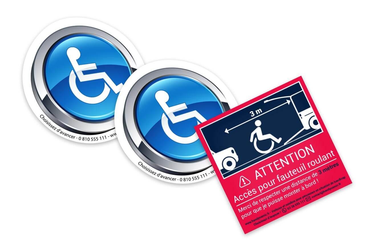 Pack autocollants accès handicap design