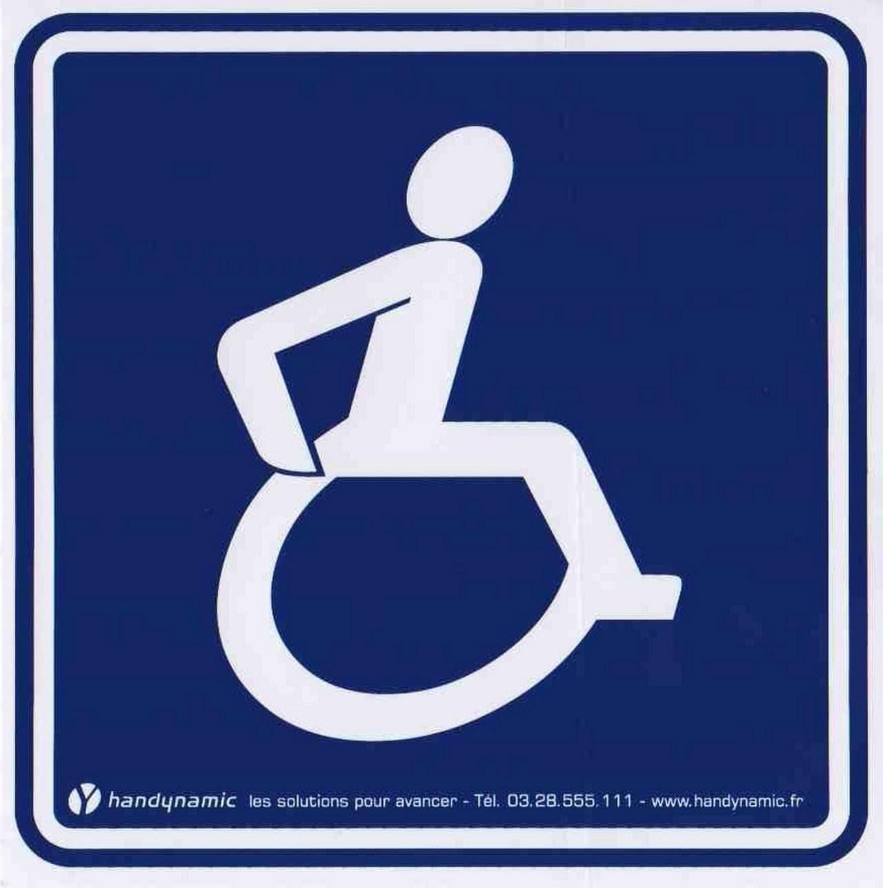 Autocollant avec pictogramme handicap grande taille