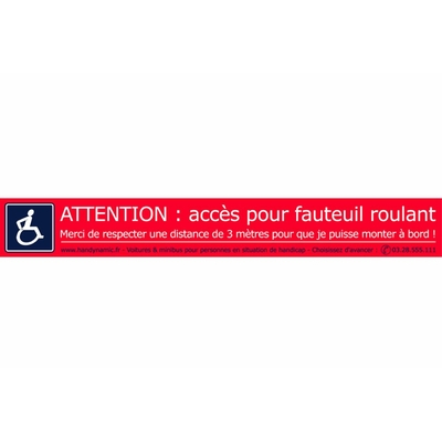 Autocollant attention fauteuil roulant