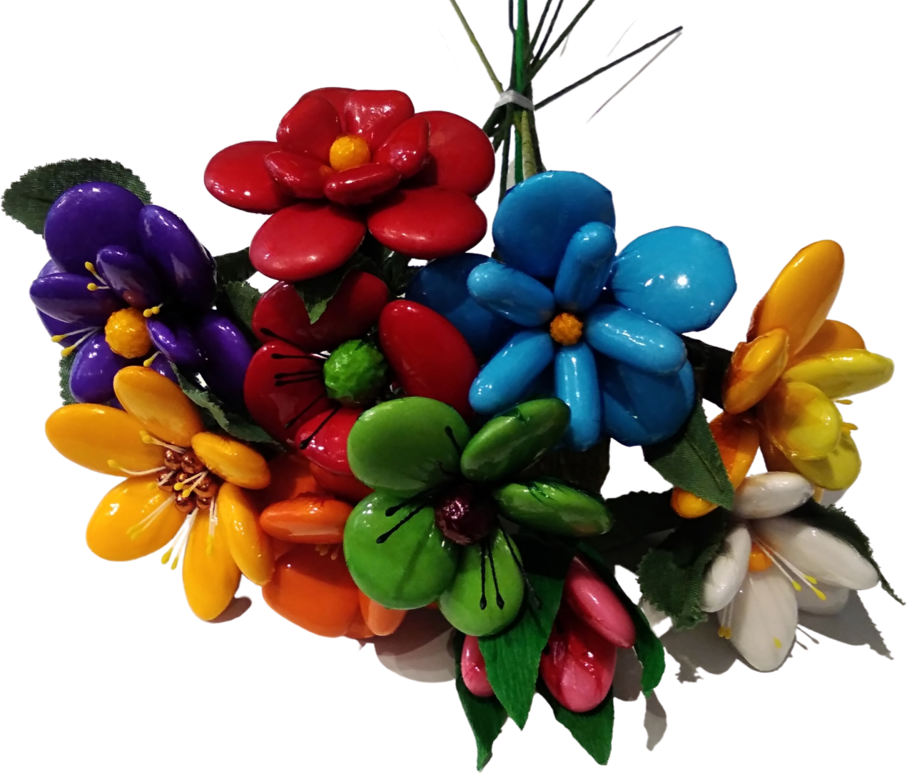 Bouquet rond joyeux en dragées chocolat