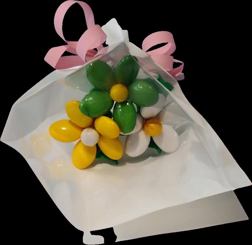 Mini bouquet marguerites en dragées chocolat