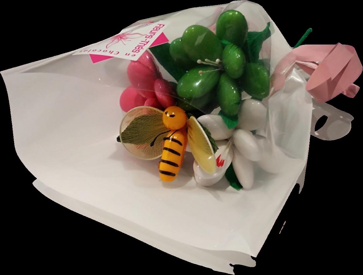 Mini bouquet abeille et frésias en dragées chocolat