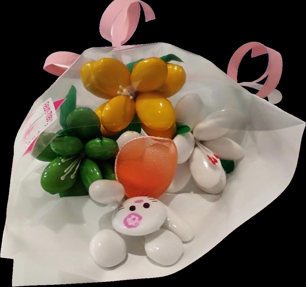 Mini bouquet Hello Kitty et frésias en dragées chocolat