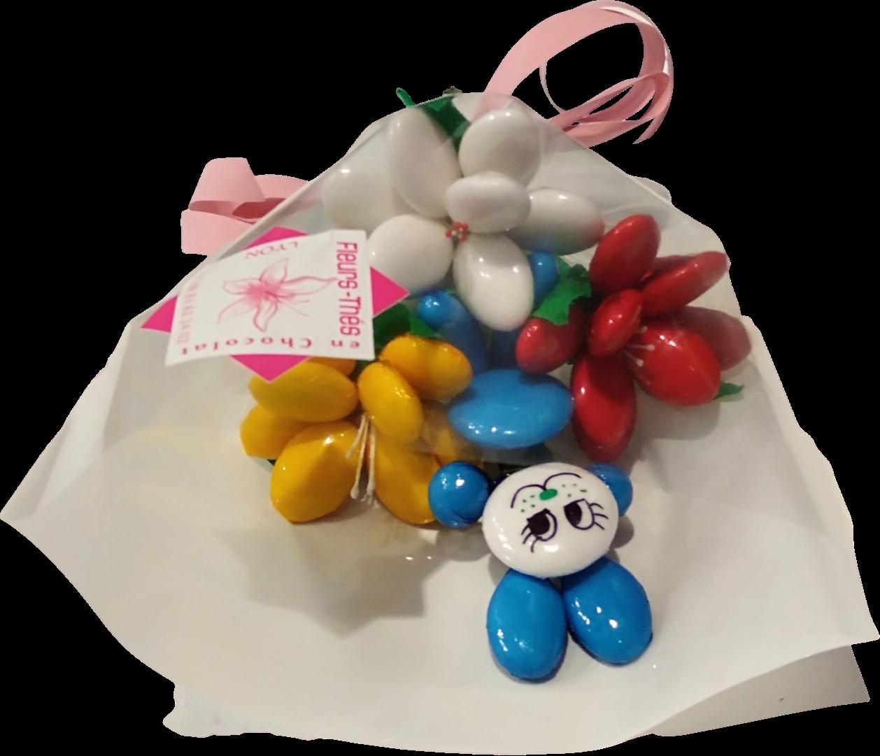 Mini bouquet lapin et frésias en dragées chocolat