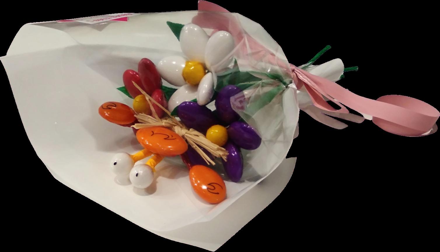 Mini bouquet crabe marguerites en dragées chocolat
