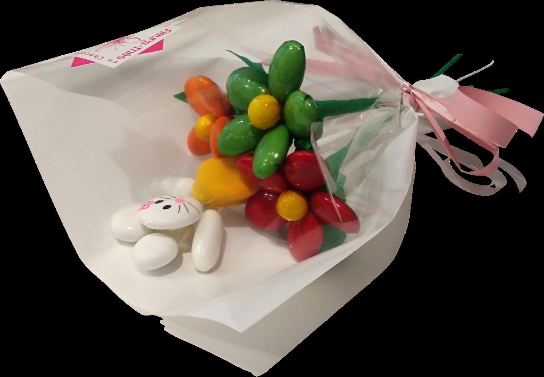 Mini bouquet Hello Kitty et marguerites en dragées chocolat