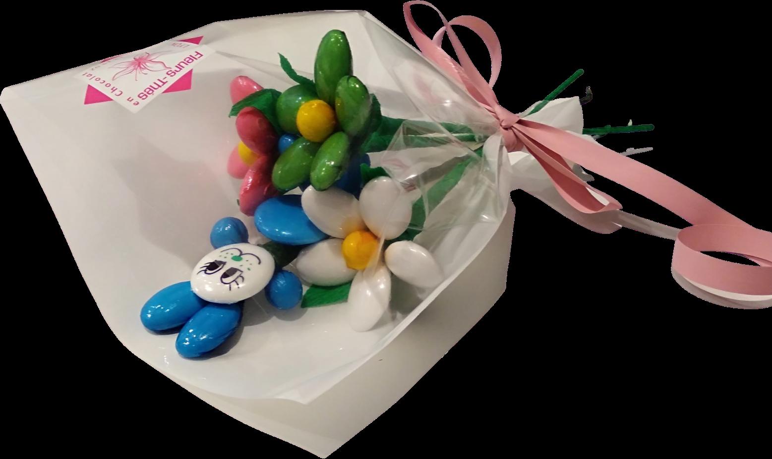 Mini bouquet lapin et marguerites en dragées chocolat