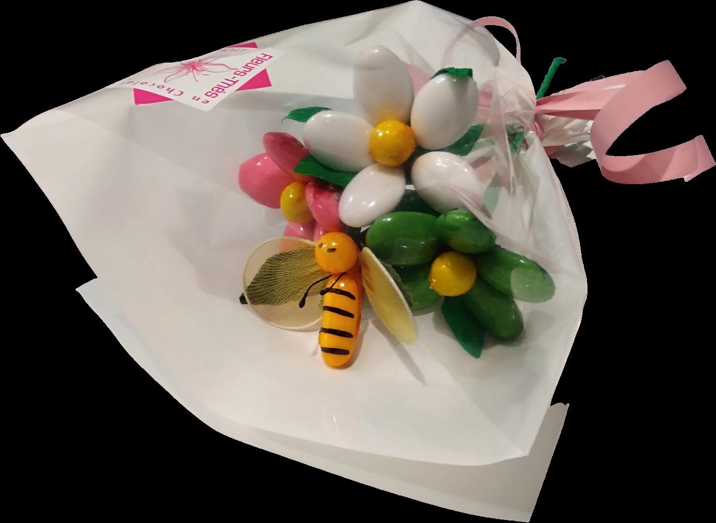 Mini bouquet abeille et marguerites en dragées chocolat