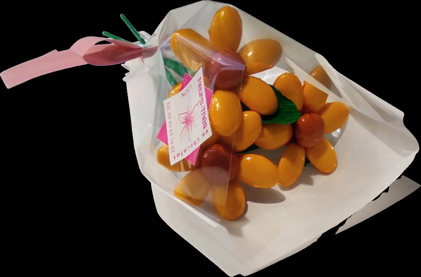 Mini bouquet de tournesols en dragées chocolat