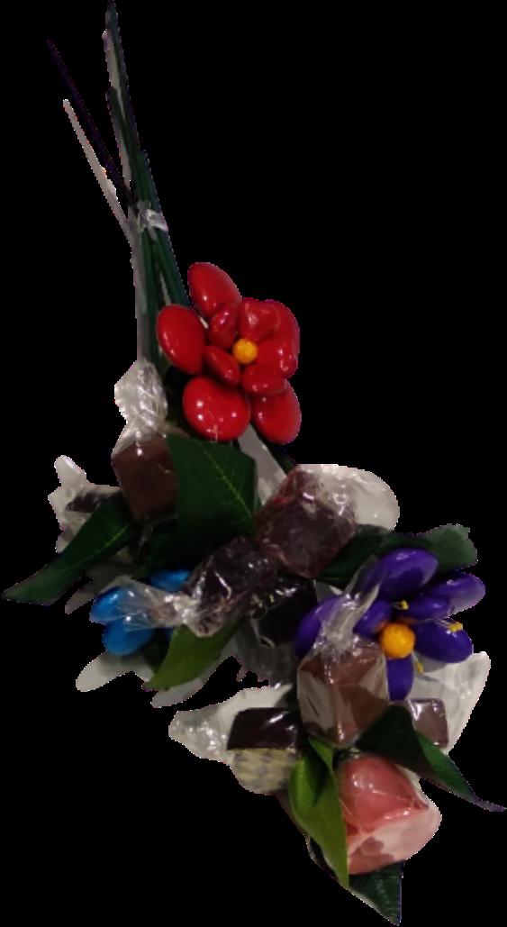 Bouquet atout chocolats, pâtes de fruit, pâte d'amande et dragées chocolat