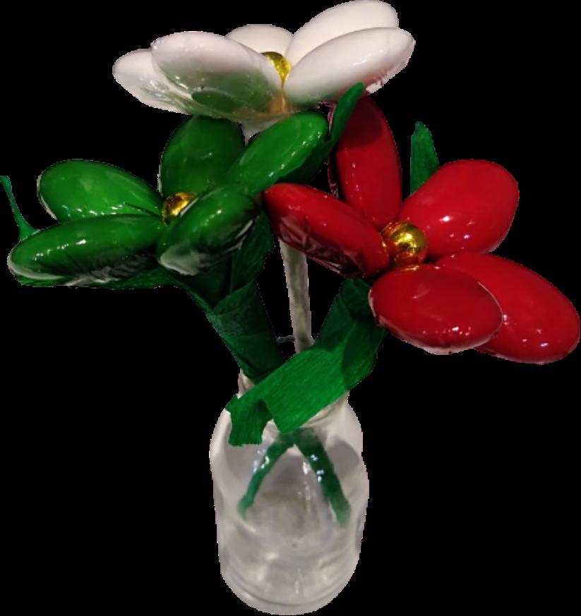 Bouteille fleurs de dragees chocolat