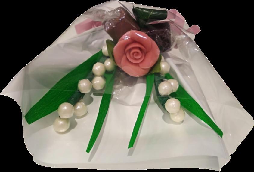 Mini bouquet du premier mai chocolat muguet rose pate d amande