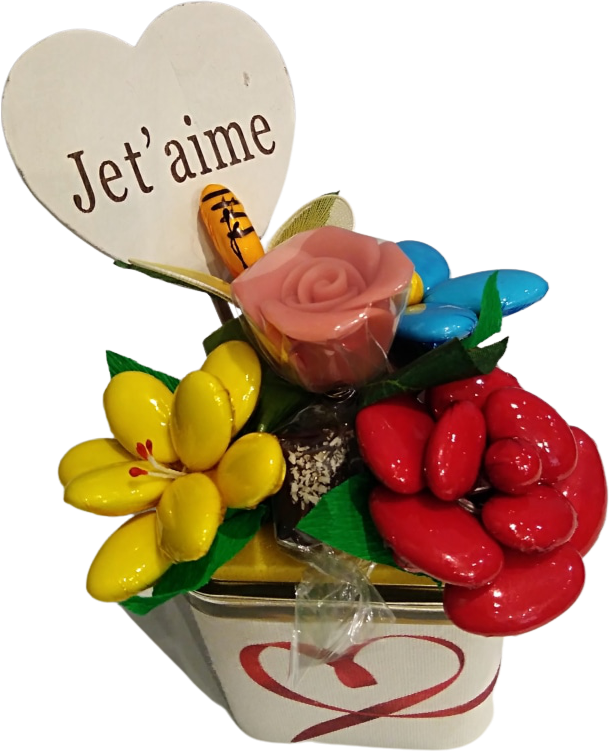 Cube coeur fête des mères chocolats et abeille dragées