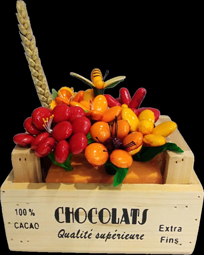 Cagette bois dragées chocolat