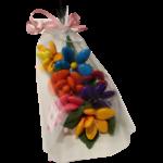 Bouquet intemporel en dragées chocolat emballé