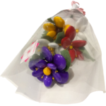 Bouquet merci en dragées chocolat emballé