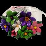 Bouquet rond amitiés en dragées chocolat emballé