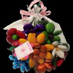 Bouquet rond solaire en dragées chocolat emballé