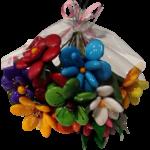 Bouquet rond joyeux en dragées chocolat emballé