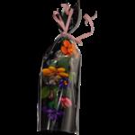 Bouquet multa chocolats, pâtes de fruit, pâte damande et dragées chocolat emballé