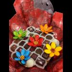 Bouquet festif chocolats et fleurs de dragées chocolat zoom