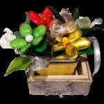 Photophore bois chocolats fleurs de dragees chocolat