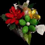 Photophore bois chocolats fleurs de dragees chocolat zoom