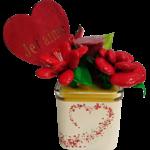Cube coeur fête des mères chocolats et coccinelle dragées