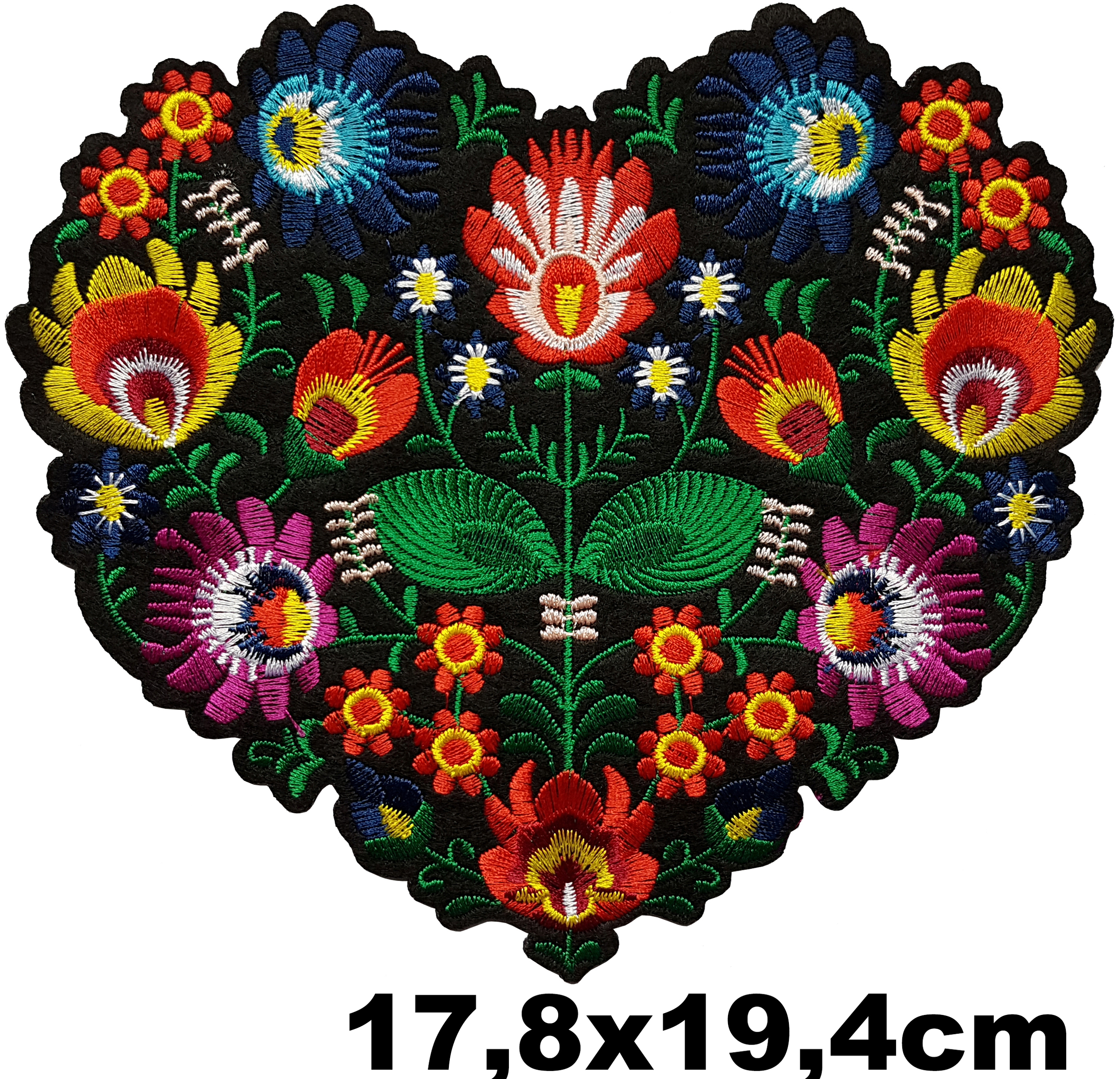 Grand Patch Thermocollant Coeur Fleurs