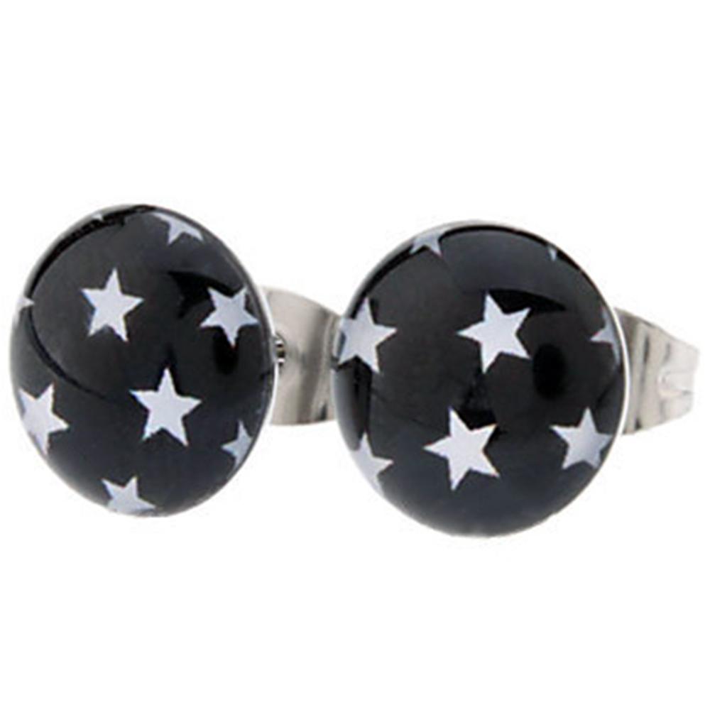 Boucles d\'Oreille Clous Puces Acier Inoxydable - Étoiles Blanches Logo