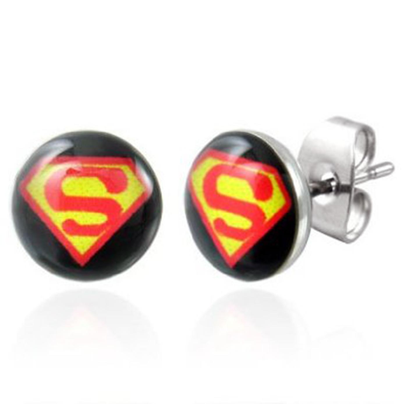 Boucles d'oreille clous acier inoxydable Superman