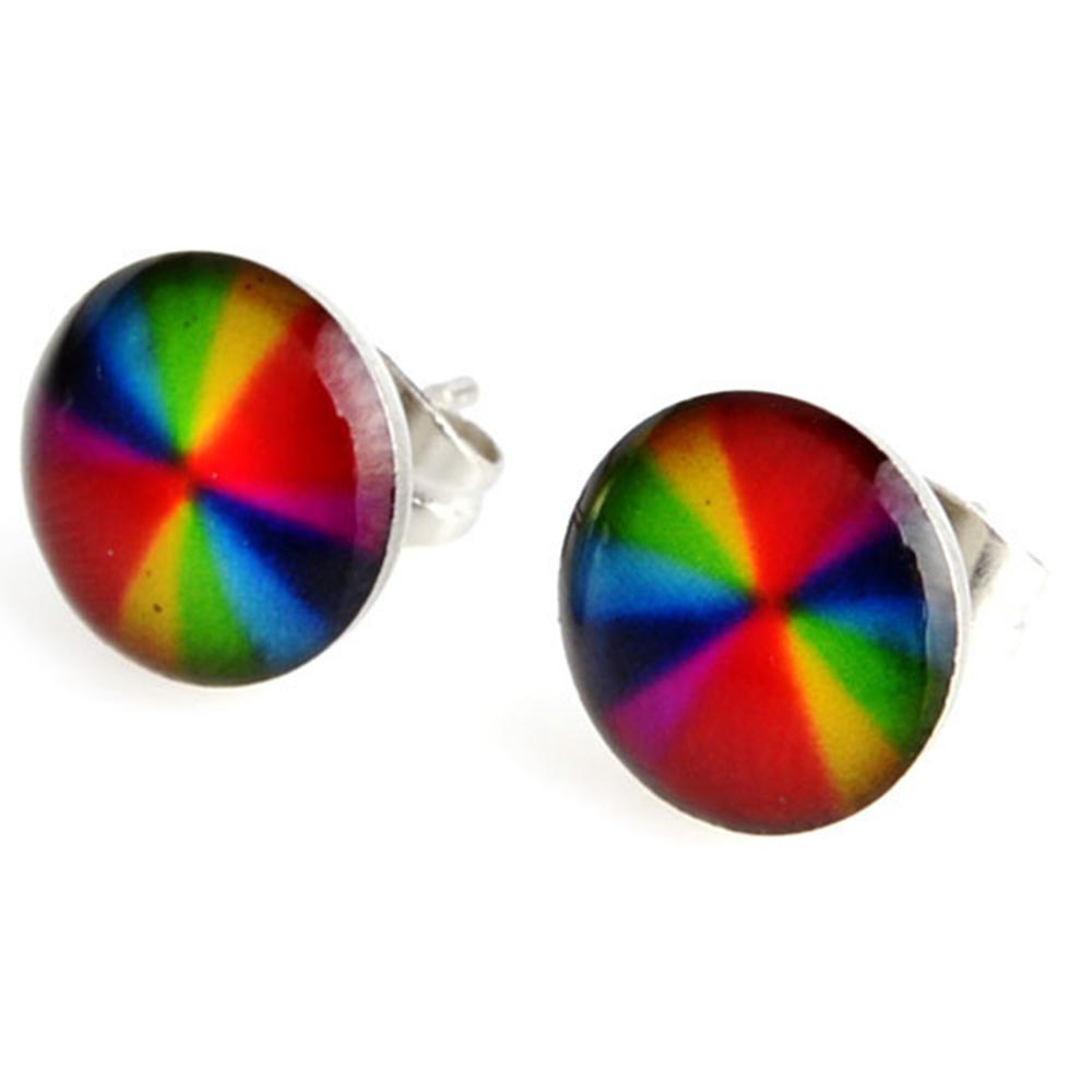 Boucles d\'Oreille Clous Puces Acier Inoxydable - Multicolore Art Abstrait