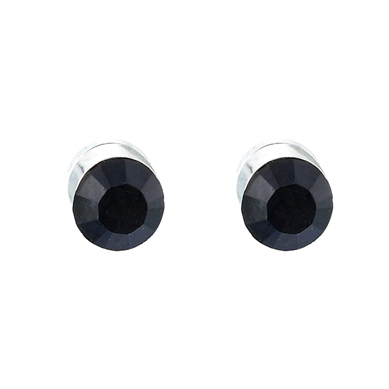 Boucles d'oreilel aimanté magnétique cubique zirconia noir
