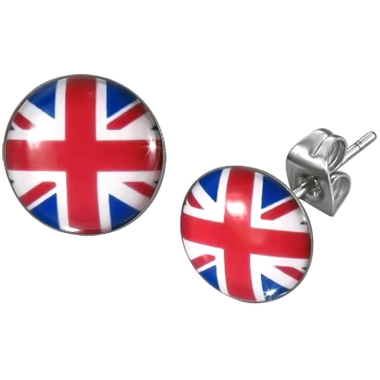Boucles d'oreille clous acier inoxydable drapeau Royaume-Unis