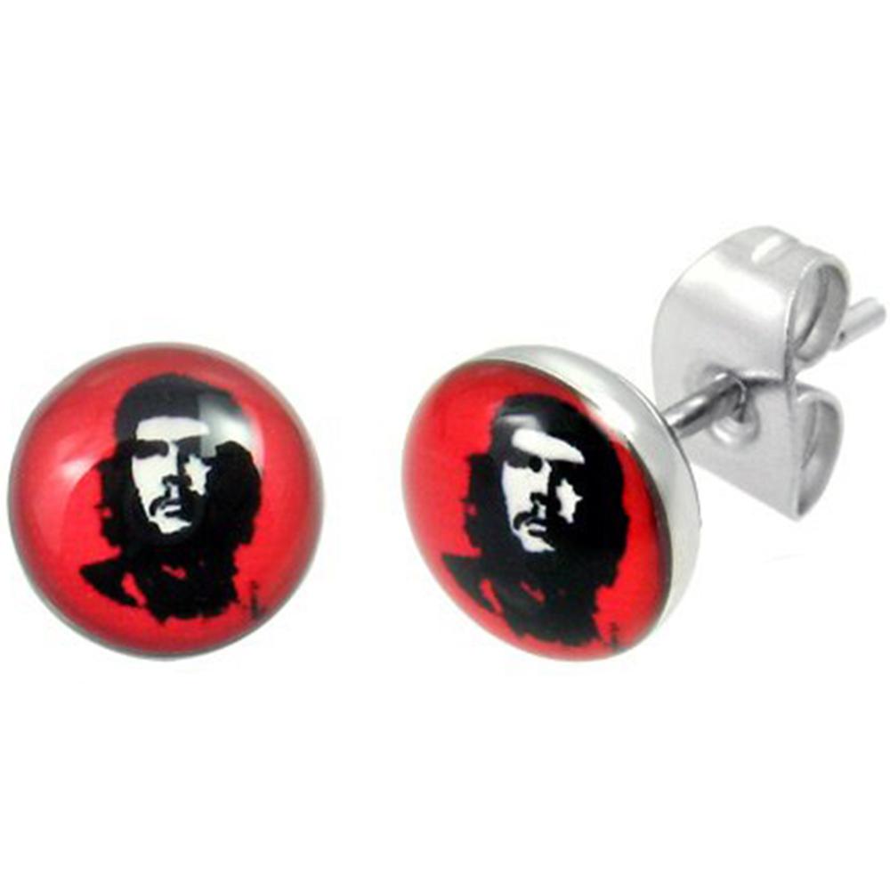 Boucles d\'Oreille Clous Puces Acier Inoxydable - Ernesto Che Guevara