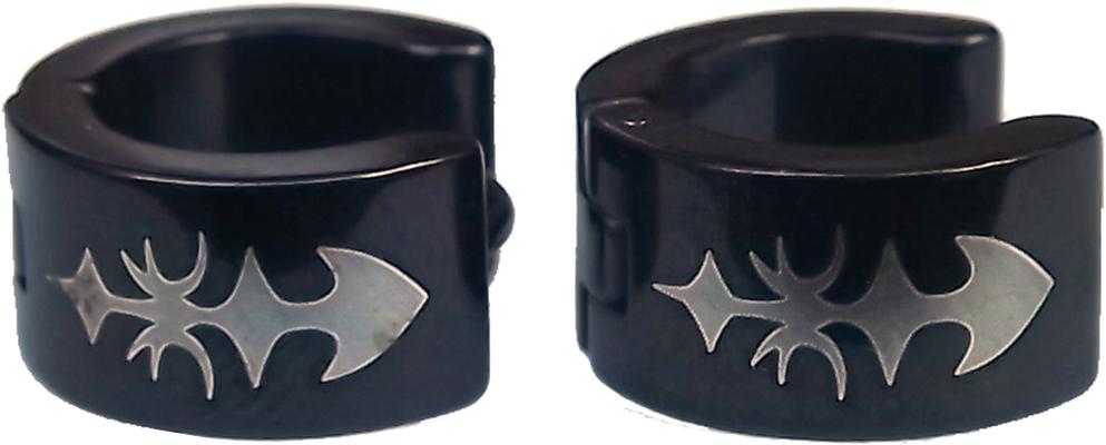 Boucles d'oreilles acier inoxydable anneaux créoles noir épée tribal