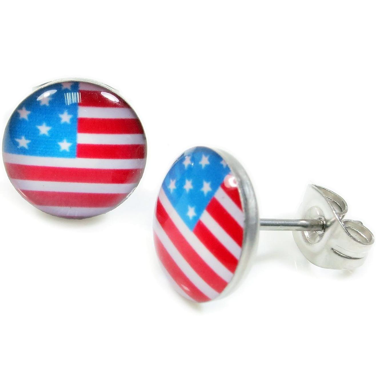Boucles d'Oreille Clous Acier Inoxydable drapeau US 1