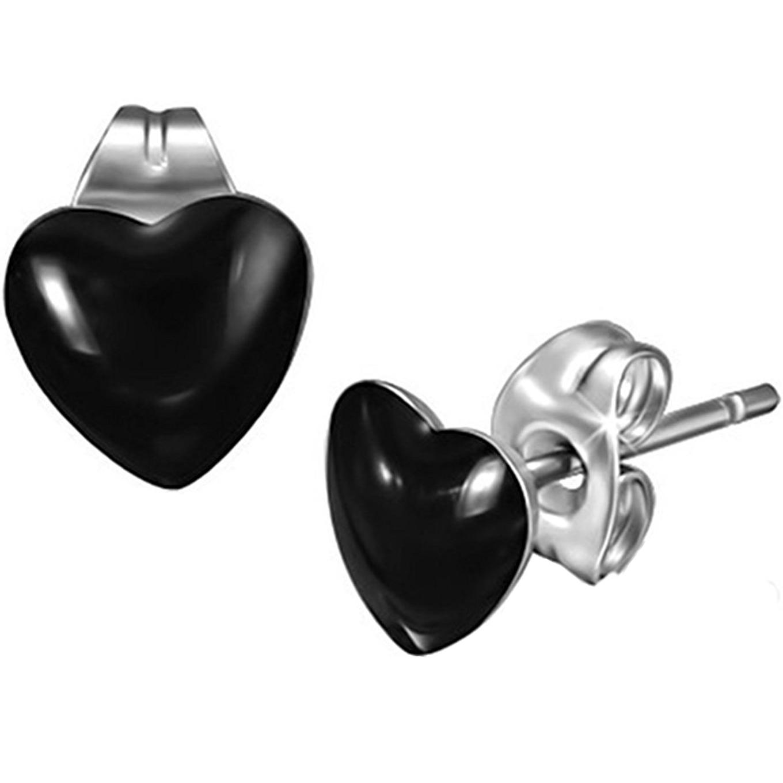 Boucles d\'Oreille Clous Puces Acier Inoxydable - Coeur Noir