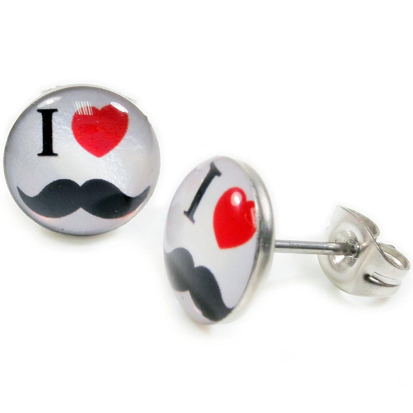 Boucles d\'Oreille Clous Puces Acier Inoxydable - Blanc I Love Moustache Coeur Rouge