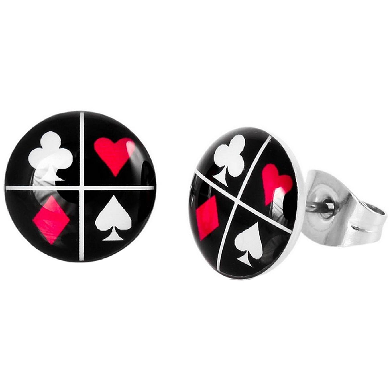 Boucle d'oreille clous acier inoxydable Cartes Poker 1