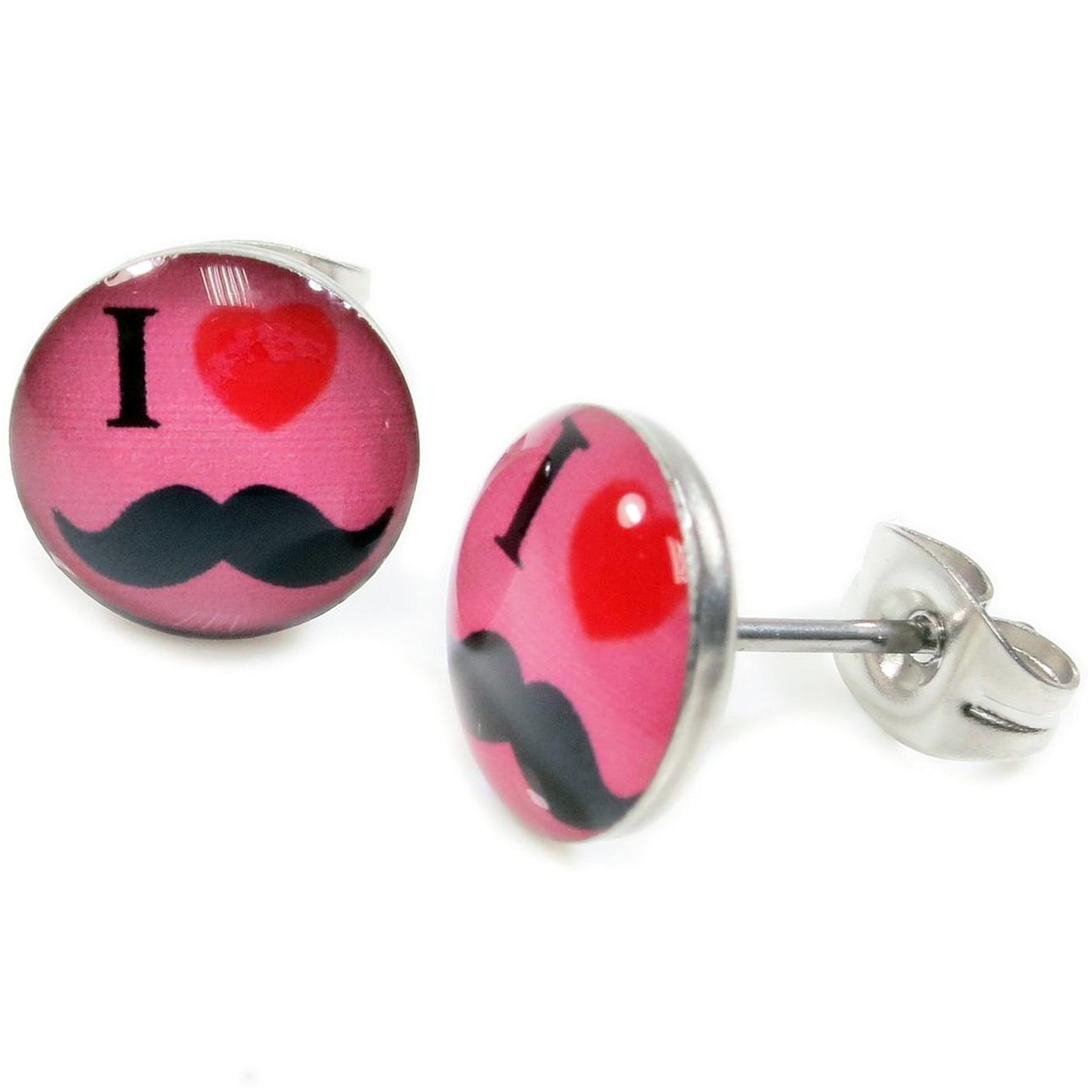 Boucles d'Oreille Clous Acier Inoxydable rose I Love moustache coeur rouge