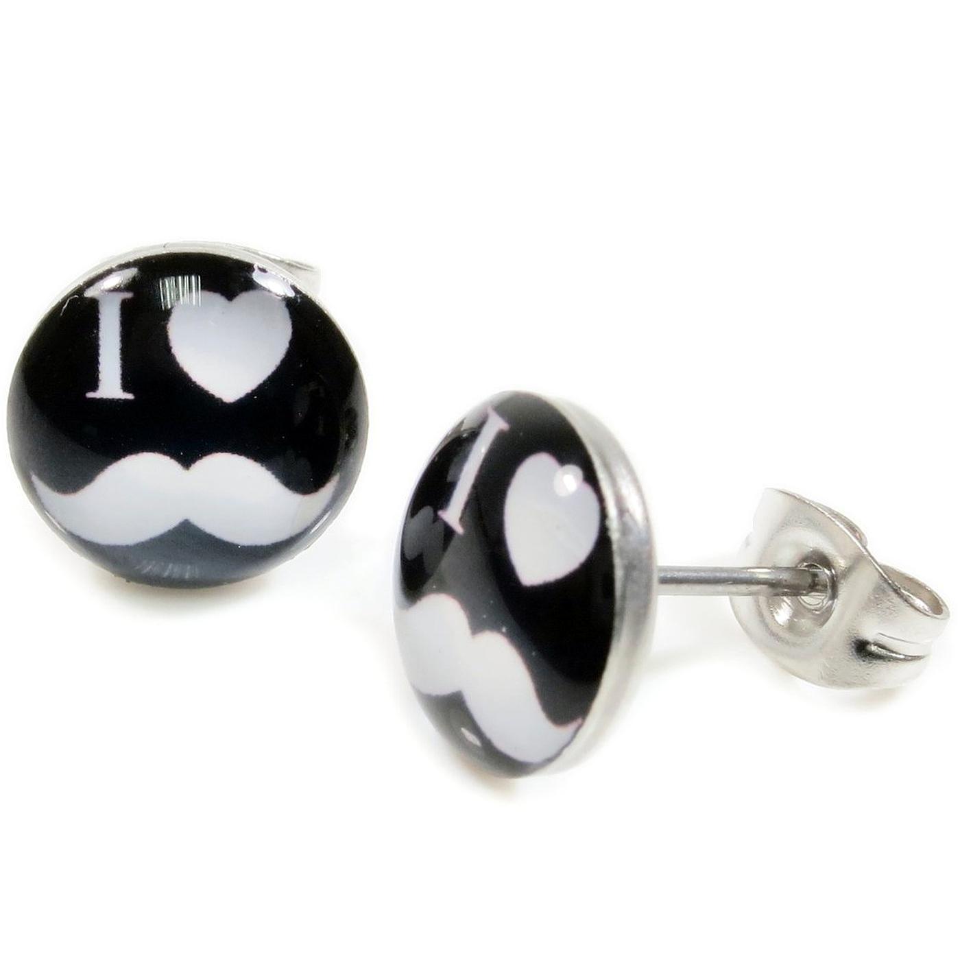 Boucles d\'Oreille Clous Puces Acier Inoxydable - Noir I Love Moustache Blanc Coeur