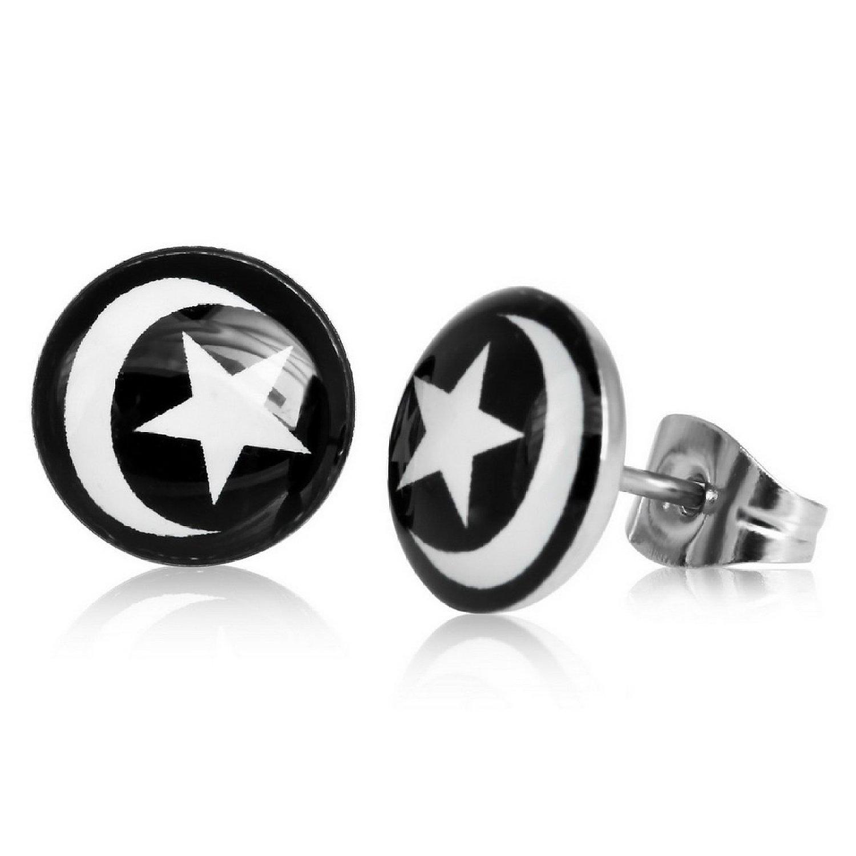 Boucles d'oreille clous acier inoxydable Lune et Étoile 1