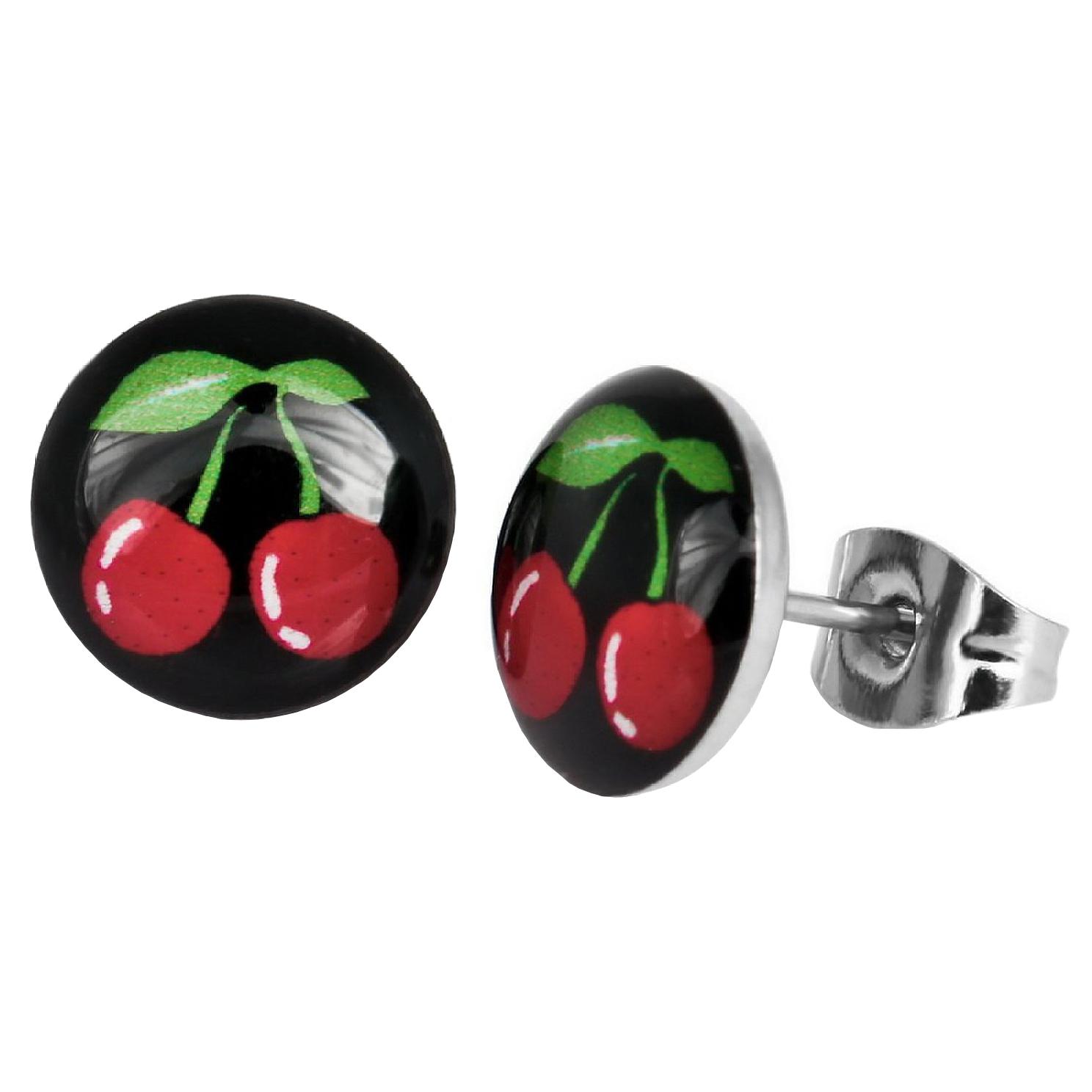 Boucles d\'Oreille Clous Puces Acier Inoxydable - Cerises Rouges Stylisés