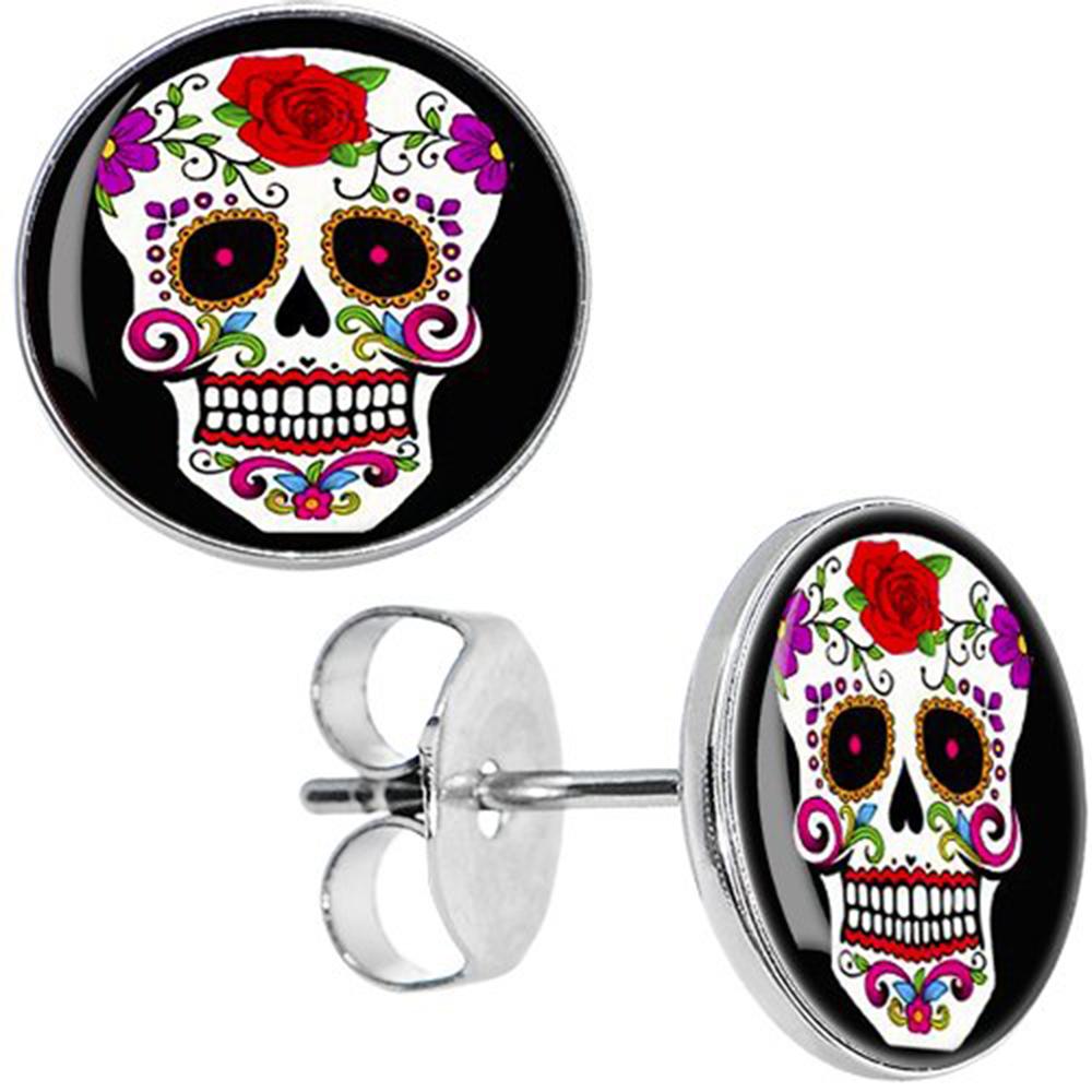 Boucles d'oreille clous acier inoxydable tête de mort mexicaine fleur rose rouge 1