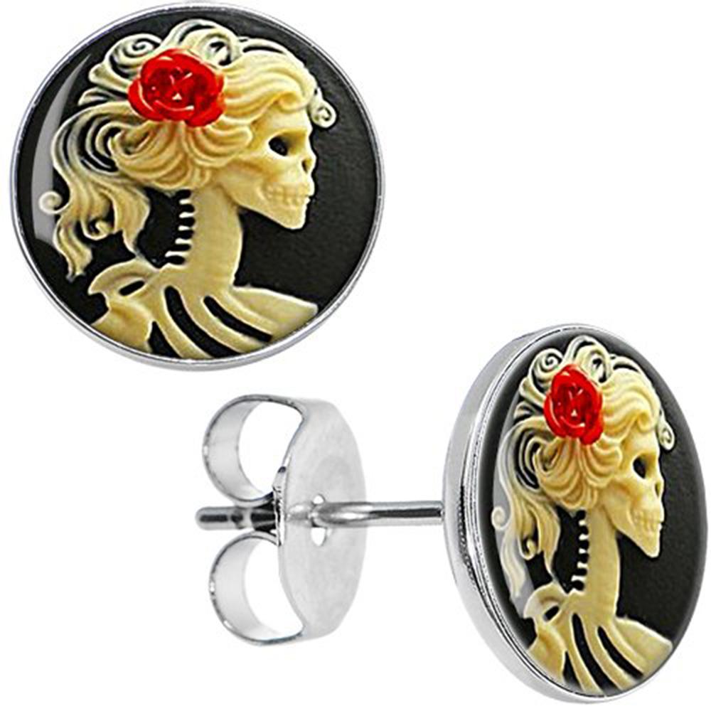 Boucles d'oreille clous acier inoxydable tête de mort mexicaine camée femme fleur rose rouge 1